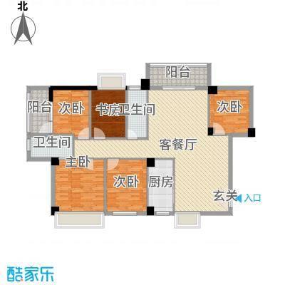 汇龙万宝国际城128.83㎡D2栋、D3栋鉴赏户型5室5厅2卫1厨