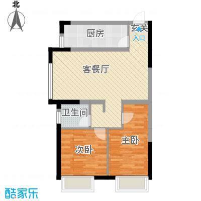 金地锦城80.00㎡高层户型2室2厅1卫1厨