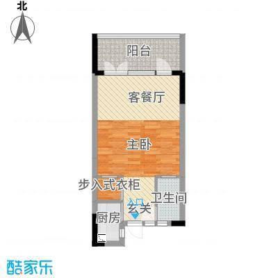 御泉庄61.66㎡1栋B户型1室1厅1卫1厨