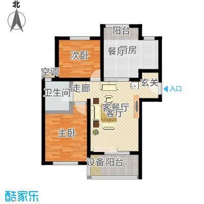 景港名人苑户型2室1厅1卫1厨-副本