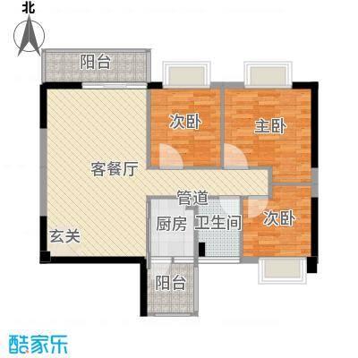 京华奥园4.33㎡第2栋1、2单元02户型3室2厅1卫-副本