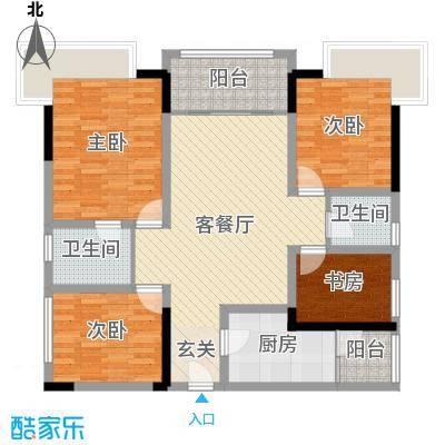 保利锦湖林语104.00㎡21#A1户型4室4厅2卫1厨