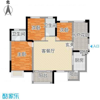 时代倾城115.00㎡二期户型3室3厅2卫1厨