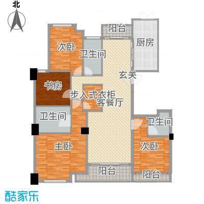 百合花园213.00㎡E1户型4室4厅3卫1厨