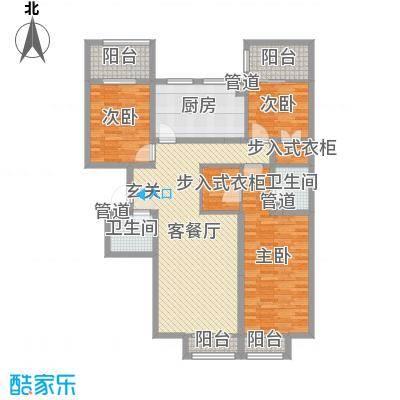 海唐罗马花园140.00㎡6-D户型3室3厅2卫1厨