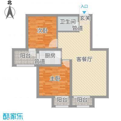 海唐罗马花园91.04㎡8#E户型2室2厅1卫1厨