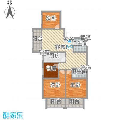 海唐罗马花园144.18㎡8#C户型4室4厅2卫1厨