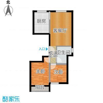 铂金时代E户型101.17平两室一厅