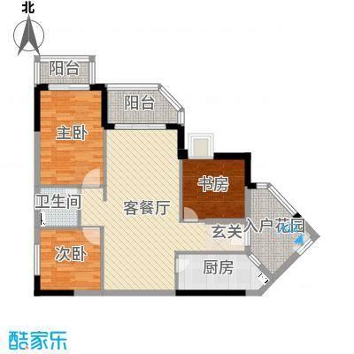 恒洲小苑93.15㎡04单位户型3室3厅1卫1厨