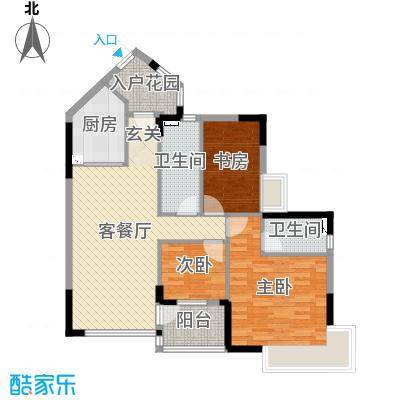 恒洲小苑102.59㎡01单位户型3室3厅2卫1厨