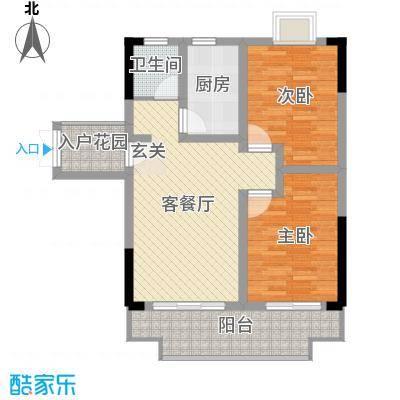 枫树园二期87.64㎡二期8栋18-27层8-03户型2室2厅1卫1厨