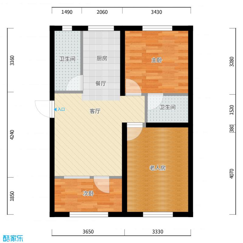 于台小区72平三室一厅一厨二卫_设计方案_装修效果图