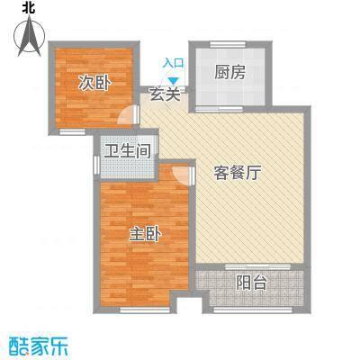香榭里9号86.87㎡3#、4#标准层D户型2室2厅1卫1厨