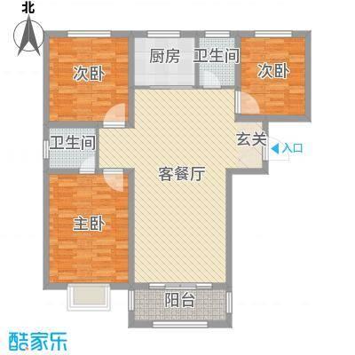 香榭里9号109.66㎡3#、4#标准层C户型3室3厅2卫1厨