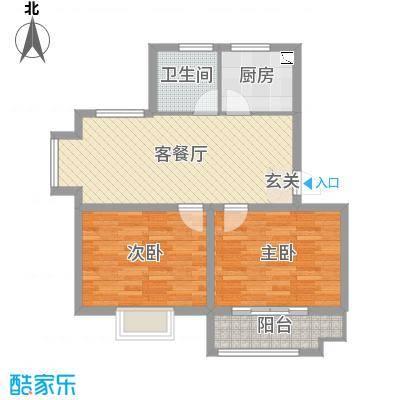太和名苑78.00㎡一期3号楼标准层户型2室2厅1卫1厨