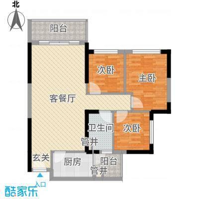 映翠豪庭88.46㎡7栋4座06户型3室3厅1卫1厨