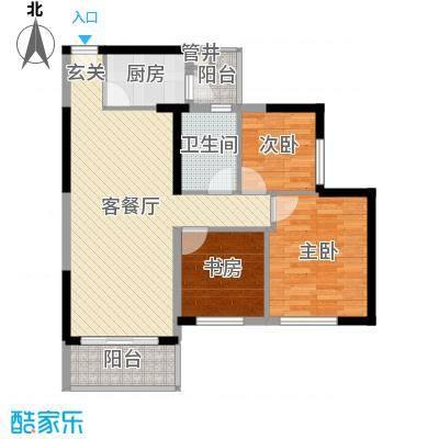 映翠豪庭88.65㎡7栋3座02/03户型2室2厅1卫1厨