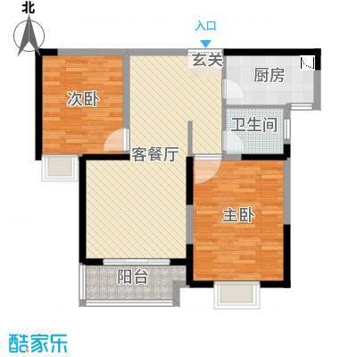 宏润花园89.45㎡二居户型2室2厅1卫1厨