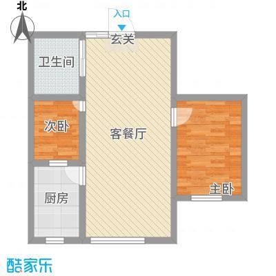 兴隆家园87.99㎡3#标准层G1户型2室2厅1卫1厨