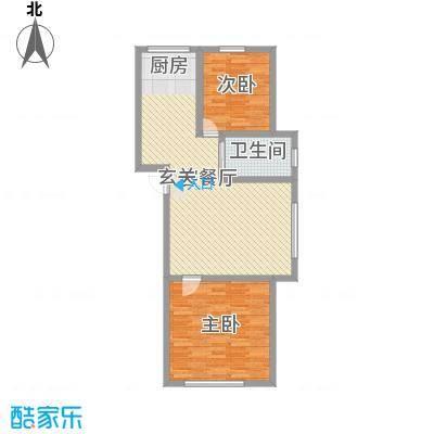 兴隆家园102.79㎡1#标准层B户型2室2厅1卫1厨
