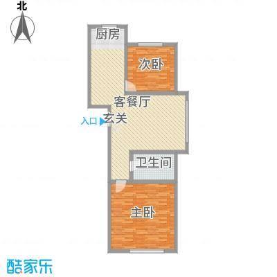 兴隆家园111.12㎡2#标准层D户型2室2厅1卫1厨