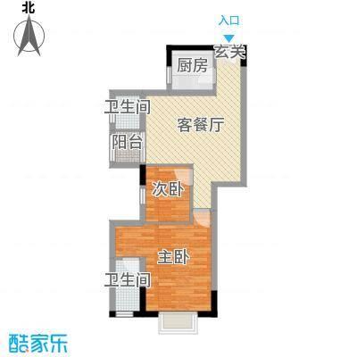 侨园・黄金海岸76.33㎡一期3栋06单位户型2室2厅2卫1厨