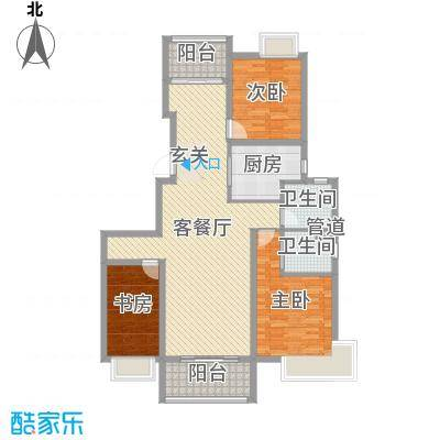 莱蒙水榭阳光128.00㎡一期5、6、7号楼标准层E户型3室3厅2卫1厨