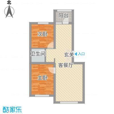 盈胜三千院68.56㎡7号楼标准层A户型2室2厅1卫1厨