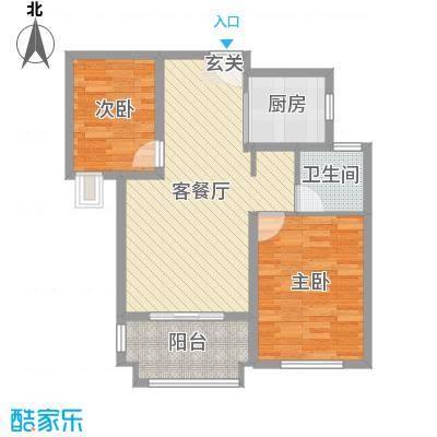 爵世名邸东湖87.00㎡D5户型2室2厅1卫1厨