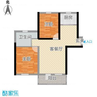 卓扬中华城92.07㎡1#、2#、3、6、10#楼B户型2室2厅1卫1厨