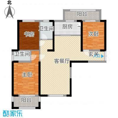 宝信润山御林133.00㎡B6#楼E2户型3室3厅2卫1厨
