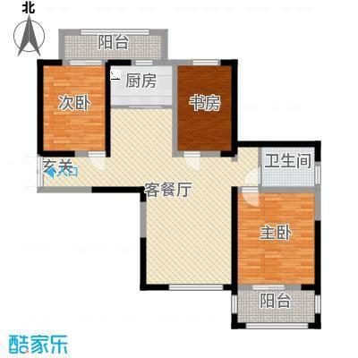 宝信润山御林116.00㎡B6#楼E2户型3室3厅1卫1厨