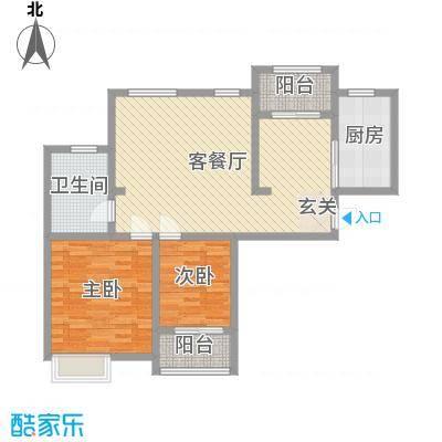 九华学府101.00㎡二期7#楼标准层A4户型2室2厅1卫1厨