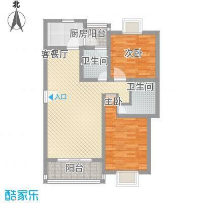 三岛龙州苑101.00㎡21号楼标准户型2室2厅1卫1厨-副本