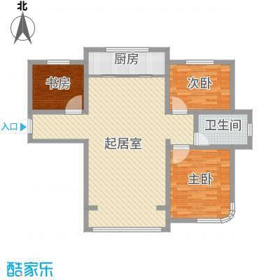 圣博・未来城12.00㎡5#楼标准层东户户型3室2厅1卫1厨-副本