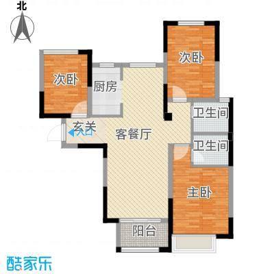 月桥花院109.00㎡三期24#、30#标准层中户G户型3室3厅2卫1厨