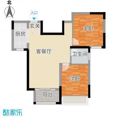 月桥花院88.00㎡三期24#29#标准层中户F户型2室2厅1卫1厨