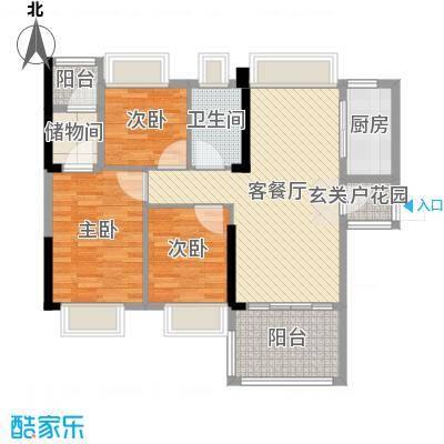 万荟时代89.94㎡1栋01单元户型3室3厅1卫1厨