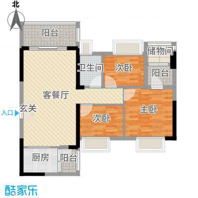 万荟时代89.86㎡1栋02单元户型3室3厅1卫1厨