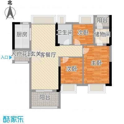 万荟时代89.75㎡2栋03单元户型3室3厅1卫1厨