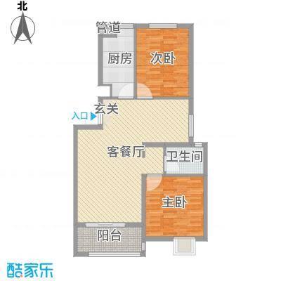 梧桐公馆94.30㎡三期17#18#楼标准层C户型2室2厅1卫1厨