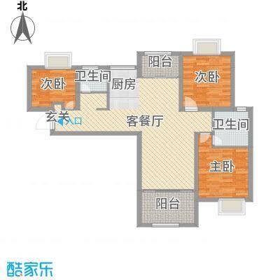 扬州国际公馆103.00㎡二期B3户型3室3厅2卫1厨