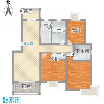 三岛龙州苑户型图17号楼标准户型 3室1厅1卫-副本