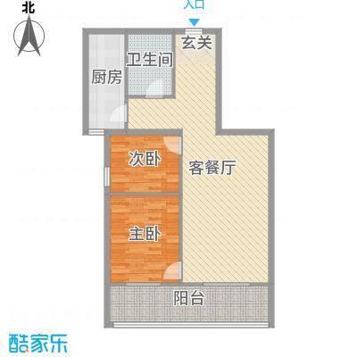 来福花园92.00㎡3#东单元03户型2室2厅1卫1厨