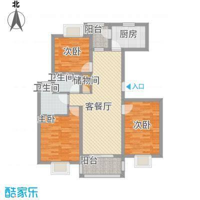 三岛龙州苑户型图17号楼标准户型 3室1厅2卫1厨-副本