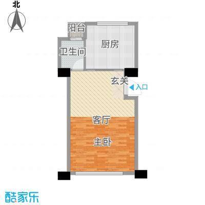 新城帝景67.59㎡38#3-27层F户型1室1厅1卫1厨