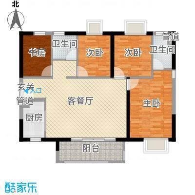 时代廊桥115.00㎡3/4座02/05单元户型4室4厅2卫1厨