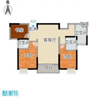 华仁凤凰城124.00㎡7#02户型3室3厅2卫1厨