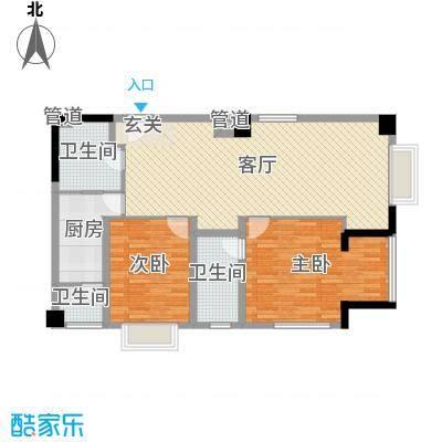 枫丹国际公寓118.00㎡2号楼公寓户型2室2厅2卫1厨