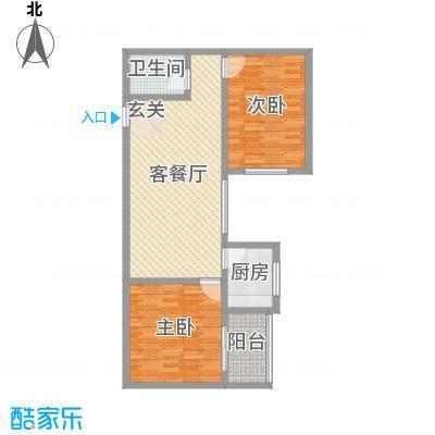 龙悦湾三期90.92㎡d户型2室2厅1卫1厨